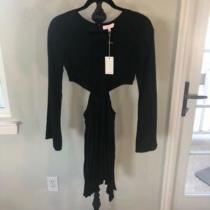 NAMELESS Cutout + Crochet Lace Black Mini Dress Sm